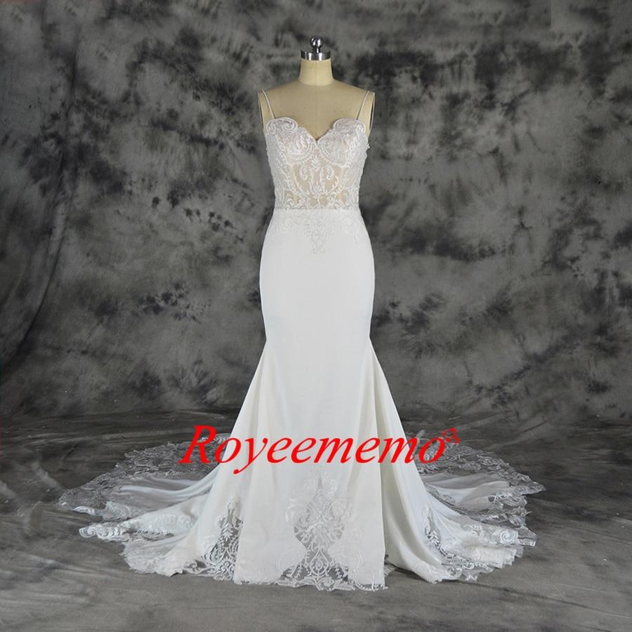 US $110.10 Hot Sale Telanjang Tulle Seksi Atas Transparan Mewah Renda  Pernikahan Gaun Khusus Desain Kereta Gaun Pengantin Harga Grosir Gaun