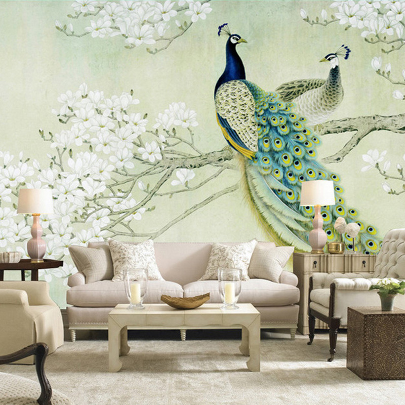 Custom Classic Mural 3D Stereo Peacock Wood Fiber Wallpaper Living Room  Study Backdrop Landscape Papel De Parede 3D Home Decor-in Wallpapers from  Home ...