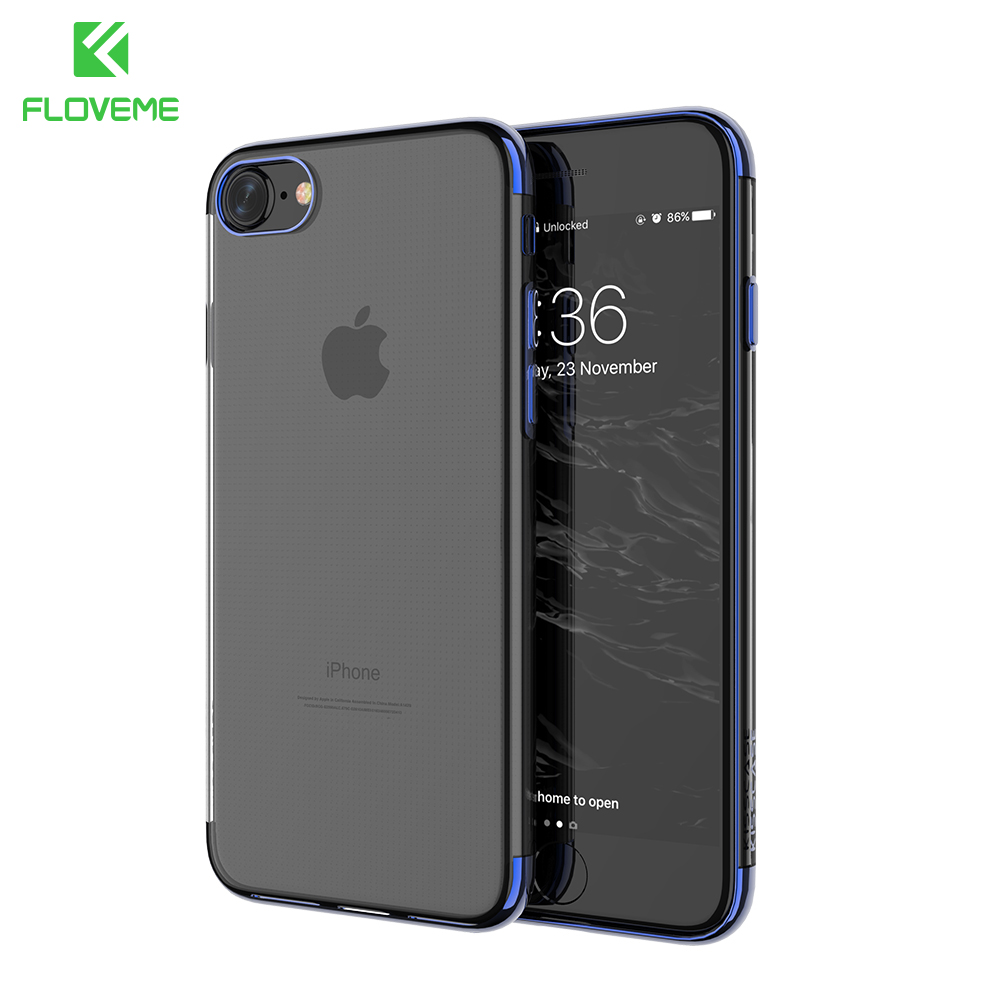 Galleria fotografica FLOVEME Case For iPhone 8 7 6 6s Plus Case Plated Button Clear TPU Phone Case Cover Ultra Slim Back Cover For iPhone 6 7 8 Plus