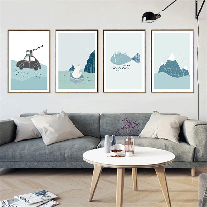 3 03 45 De Réduction Haochu Triptyque Glacier Ours Polaire Poisson Glace Montagne Ensemble Mur Photos Toile Peinture Pour La Décoration De La Maison