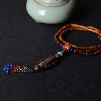ethnic maxi necklace for women color stone ceramic Dzi beads pendants coconut shell long chain fashion vintage jewelry 2018