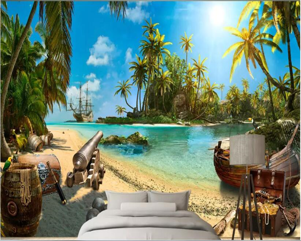 Beibehang Papel De Parede 3d Wallpaper Magic Pirate Treasure Island Landscape 3d Wallpaper Background Decorative Mural Wall 3 D