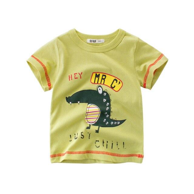 127be61cc206 Cartoon Dinosaur Boys Long Sleeve T Shirt For 2 8Years Old Cotton ...