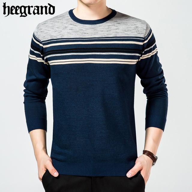 Hee grand 2017 blusas de algodão homens melhor estilo o-pescoço camisola dos homens marca pullover masculino outono inverno malhas vestido mzl699