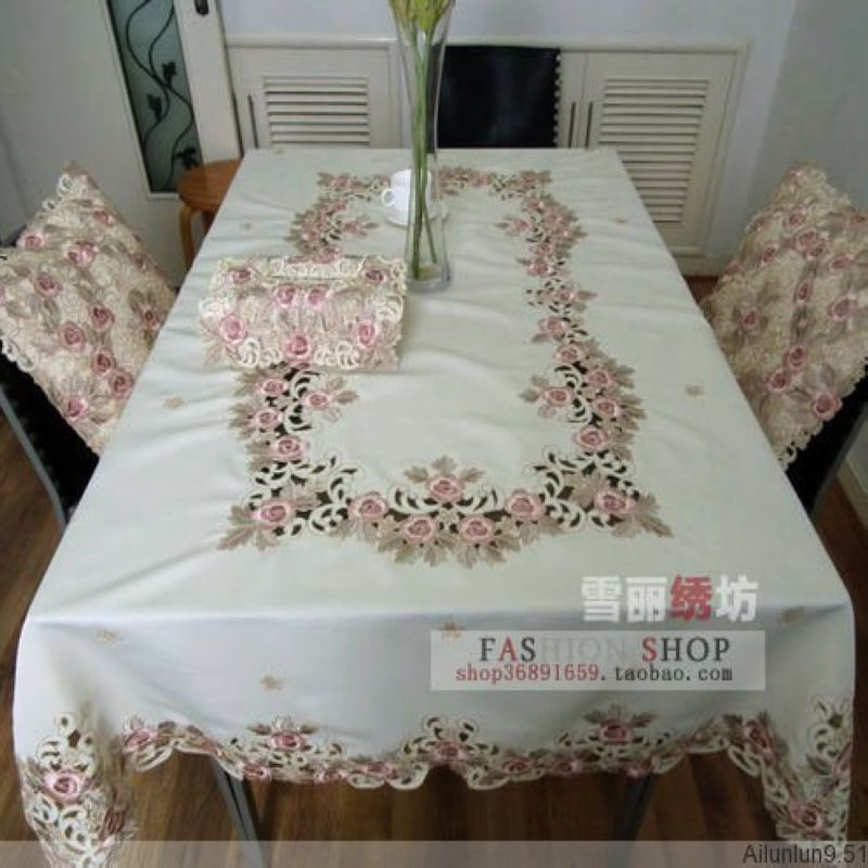 Rustic cloth embroidery embroidered dining table cloth  : Rustic cloth embroidery embroidered dining table cloth table mat tablecloth cutout cover towel rose from www.aliexpress.com size 800 x 800 jpeg 79kB