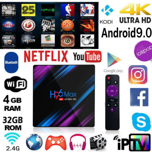 H96 MAX Smart TV BOX Android 9.0 OS 4G RAM 32/64GB RK3328 Quad Core Wifi1080p 4K LED Screen Set Top Box Media Player