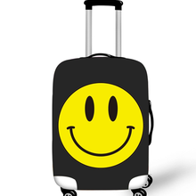 Cute Emoji Thicker Travel Suitcase Protective Cover For 18-28 Inch Trolley Case Elastic Fabric Dust Cover Travel Accessories