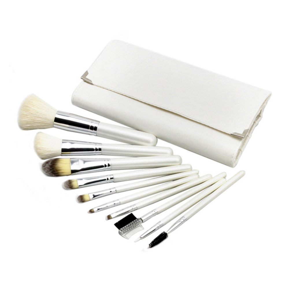 10 pcs/set  Pro Cosmetic Makeup Brush Tool Eyeshadow Powder Blush Foundation Lip Brush Comb Brush Set Kit +White Bag maquiagem acevivi 12pcs makeup brush kit professional cosmetic set powder foundation eyeshadow eyeliner lip brush tool pincel maquiagem