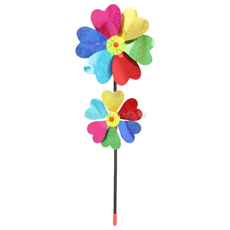 Colorful DIY Sequin Windmill Wind Spinner Home Garden Yard Decoration Kids Toy
