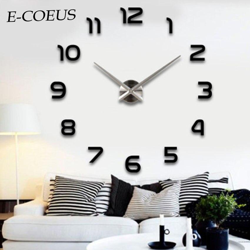 E-COEUS Mirror DIY Large Digitial 3D Big Beautiful Wall Clocks Home Decor Living Room New Black Mute Exquisite Color Wall Clocks