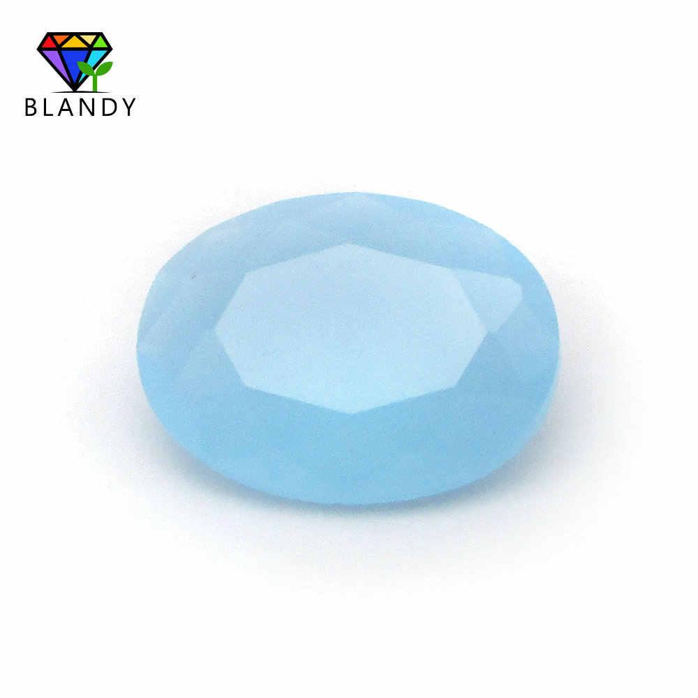 Ücretsiz kargo 50 adet/grup 3*4 ~ 13*18mm çeşitli renk gevşek cam taş Oval şekil makinesi kesim cam sentetik taş takı için