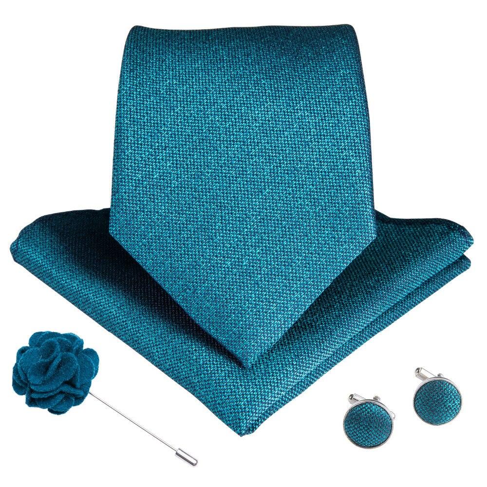 DiBanGu 15 Styles Blue Teal Men's Tie Hanky Cufflinks Brooch Set Silk Men Necktie 8cm Wide Ties For Men Business Formal Wedding