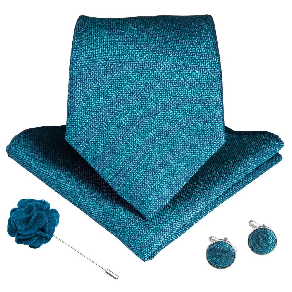 Blue Floral Mens Tie Set Flower Lapel Pin Silk Necktie Hanky Cufflinks Wedding