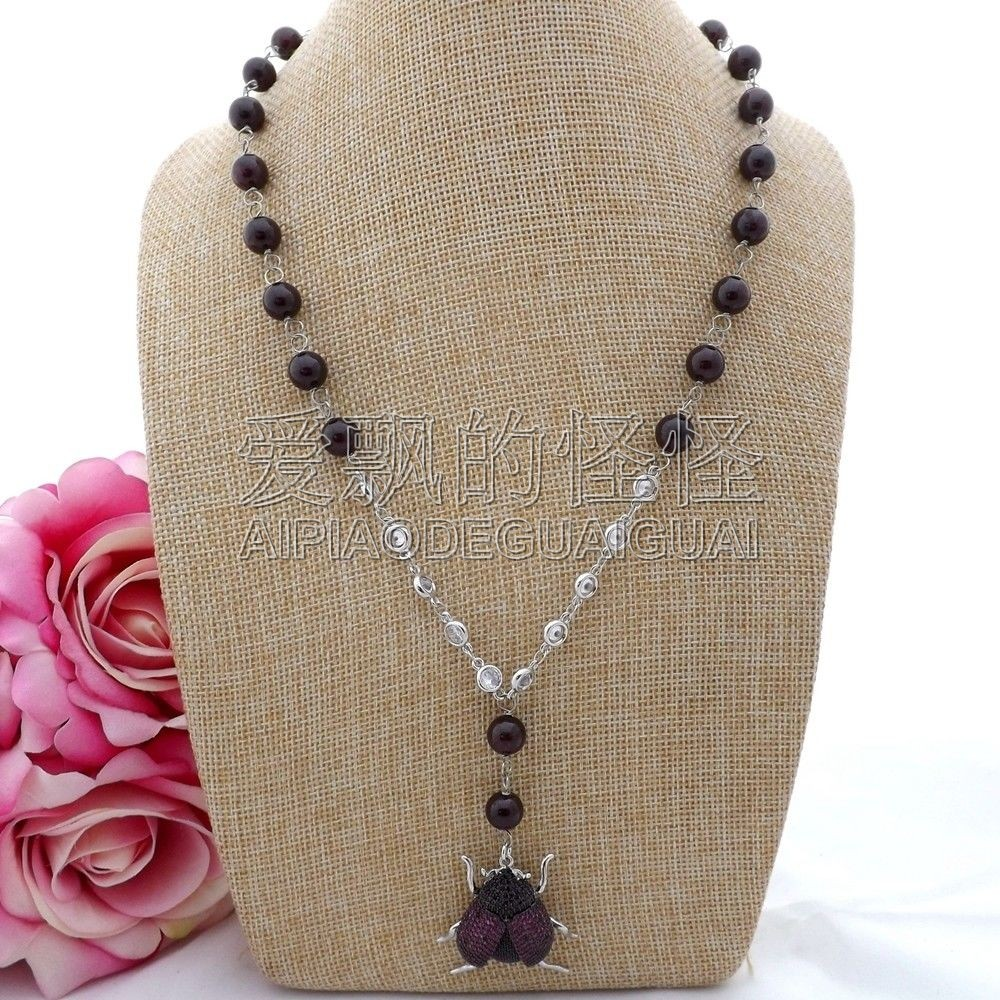 Necklaces & Pendants N090608 21 Round Garnet Chain Beetle Cz Pave Pendant Necklace We Have Won Praise From Customers