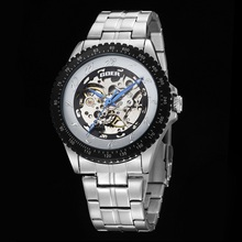 GOER brand male Automatic Luminous Skeleton digital Man watches Men s sports Mechanical Wrist watch Stainless