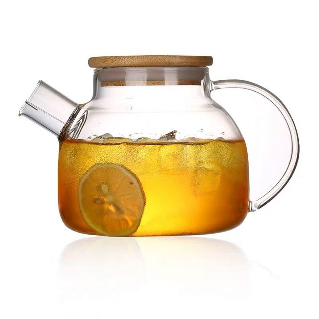 Heat resistant glass teapot kung fu tea pot with wood cover creative drinkware 900ml