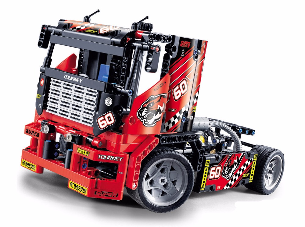 3360 race truck car 2 in 1 transformable model building block sets diy toys technic 608pcs