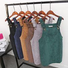 Women Retro Corduroy Dress Autumn Sarafan Loose Vest Overall Mini Suspender Sundress Casual Female Dresses
