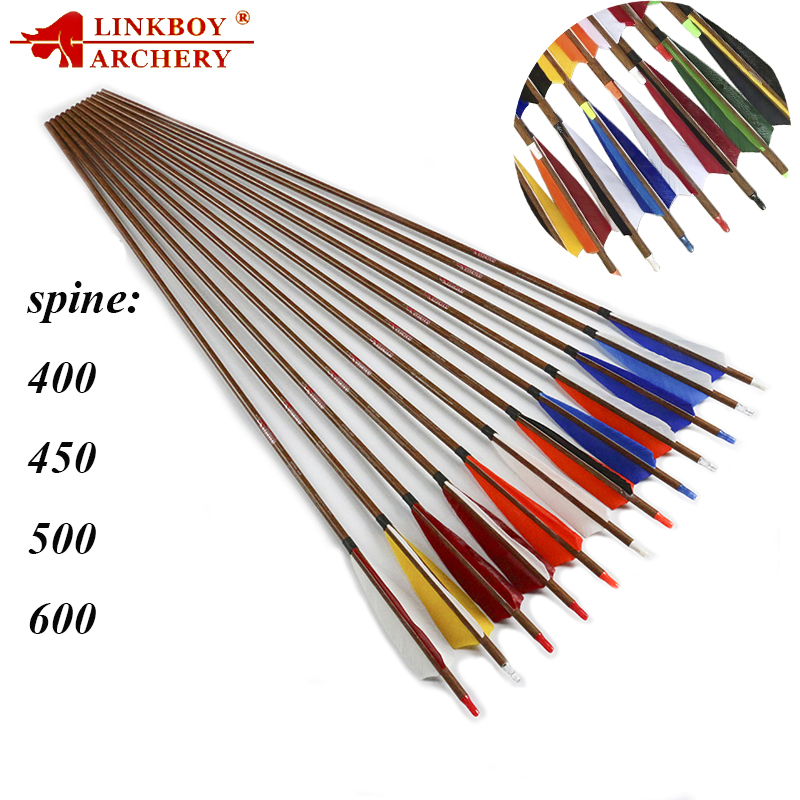 Linkboy Archery 12pcs Sp400 Archery Wooden Pattern Caron Arrow 5 Turkey Nock Tipcomplete for compound Bow