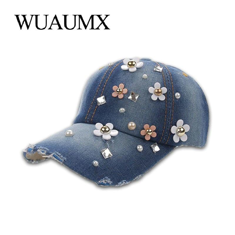 Wuaumx Rhinestones Women's   Baseball     Caps   Handmade Floral Hat For Girls Crystal   Cap   Curved Peak Visor Hip Hop Snapback   Cap   Female