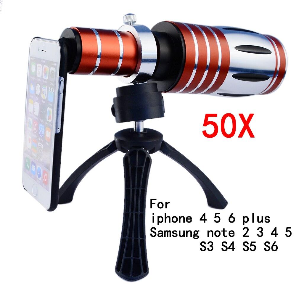 imágenes para 50x de zoom telescopio del teléfono móvil teleobjetivo lentes para iphone 5 se 5s 6 6 s 7 plus para samsung galaxy s5 s7 edge note 4 5
