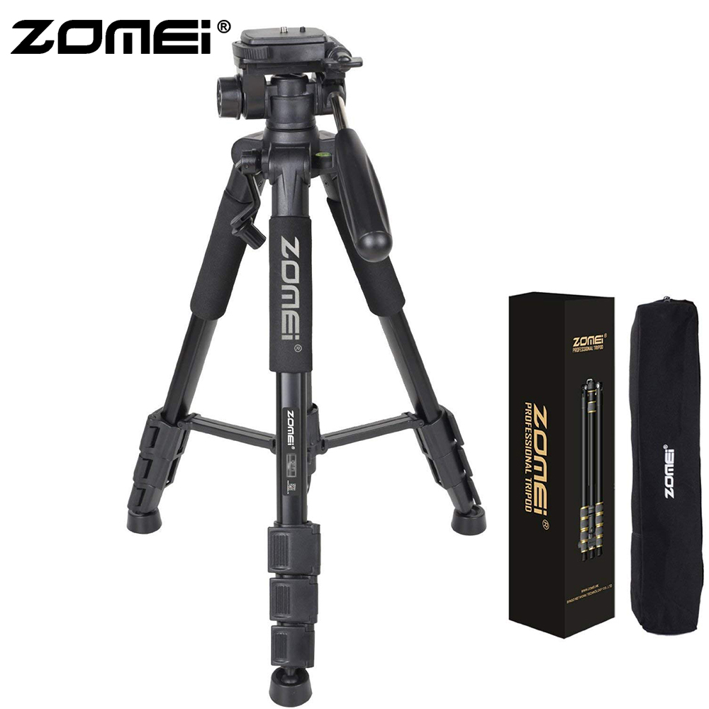 Zomei Black Z666 Lightweight Tripod Portable Travel Camera Stand with Pan Head and Carry Bag for