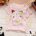 Hellokitty de la historieta 100% Algodón de Manga Corta Niños Camisetas de Las Muchachas 2016 Niños de La Manera 1-5 Años Niñas Camisetas de los Bebés ropa