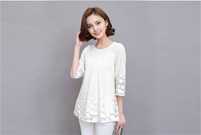 Plus Size 4XL 5XL 6XL  Luxury Lace O Neck  Women Blouse Shirt Noble Long Mesh sleeve Shirt Blouse Vintage tops Blusas Femininas (24)