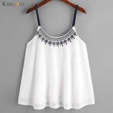 Для женщин жилет рубашка майки вышитые топы для девочек летние удобные шифоновая блузка без рукавов майка Этническая Стиль Maay25