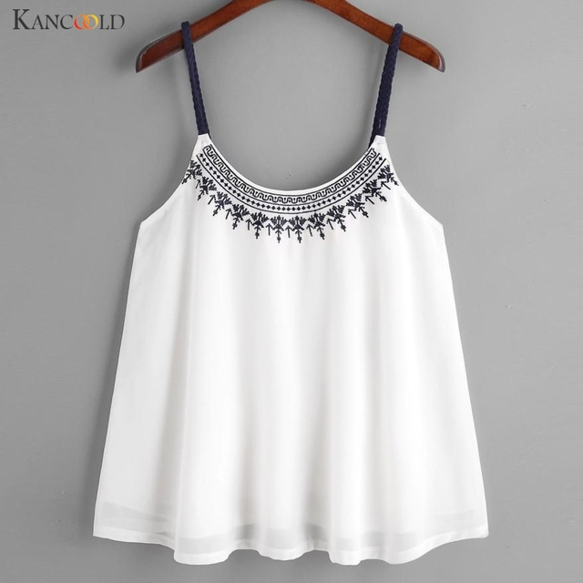c91e922c2f525 Women Vest Shirt Camis Embroidered Tops Girls Summer Comfortable Chiffon  Blouse Sleeveless Tank Ethnic Style Maay25