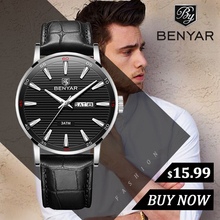купить New Watches Mens Top Brand Luxury BENYAR Quartz Wrist Watch Men 2019 Fashion Casual Leather Reloj Hombre Luminous Military Watch по цене 1055.31 рублей