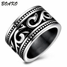BOAKO Gothic Punk Men Stainless Steel Ring Comfort Fit Midi Rings Charm Male Casual Jewelry Wedding Band Ring anillo hombre amzdeal wholesale 10pcs lot usb otg card reader universal micro usb otg tf sd card reader usb memory card adapter reader