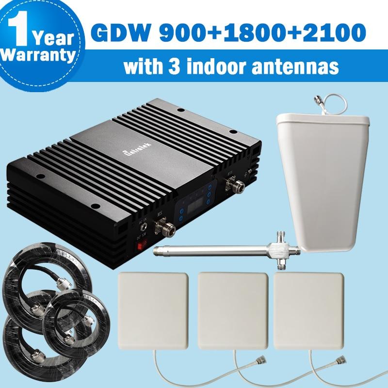 Lintratek puissant 70dB GSM 900/1800/2100 bande 3 3G WCDMA 2100 bande 1 téléphone portable amplificateur de Signal cellulaire répéteur Tri bande s-