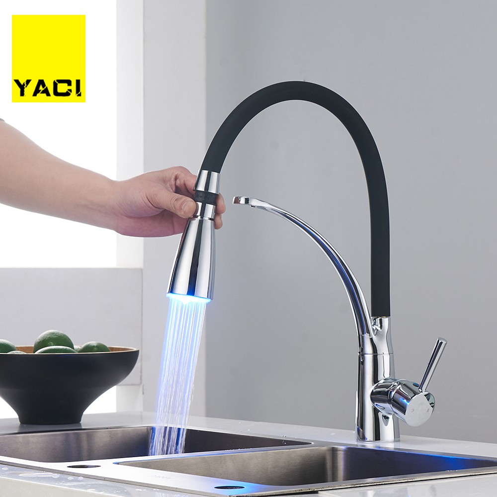 YACI 133 LED Kitchen Faucets Black Tube Mixer Faucet For Kitchen Single Handle Pull Down Deck Mounted Crane For Sinks