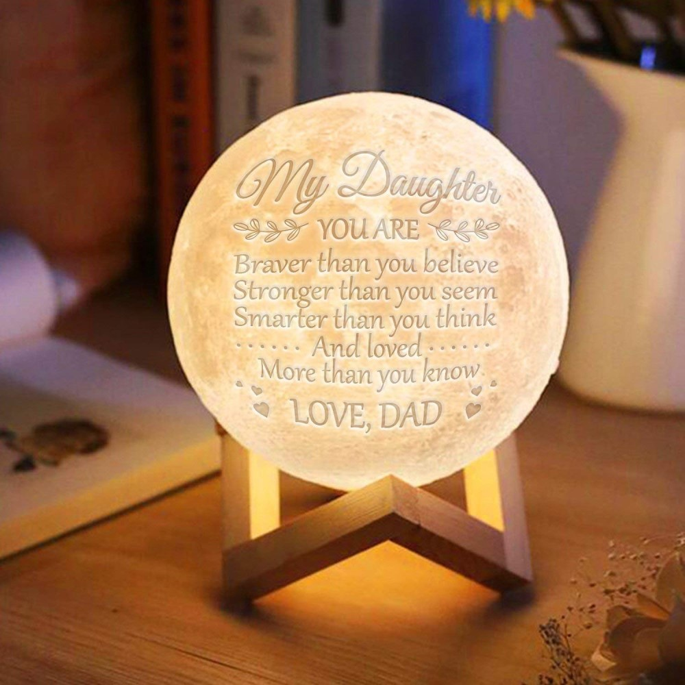 Image 5 - Photo/Text Custom 3D Printing Moon Lamp Nightlight Customized Personality Lunar USB Charging Night Lamp with Wooden Holder-in LED Night Lights from Lights & Lighting