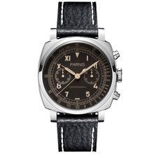 Parnis Pilot Seriers Luminous Mens Leather Watchband Militar