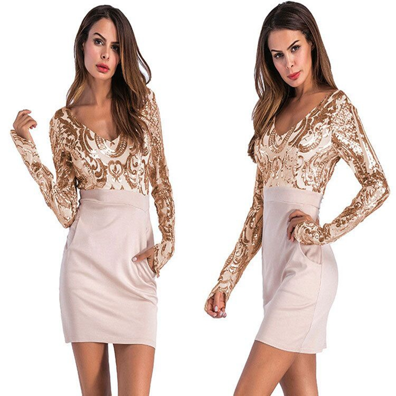 2018 Spring Women Deep V-Neck Paisley Sequin Party Dress Long Sleeve High Waist Patchwork Slim Club Dress Pockets Vestidos