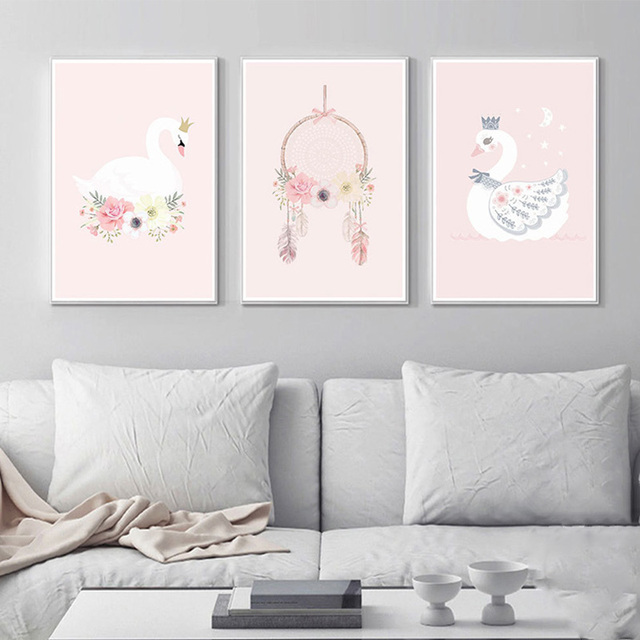 Nordic Home Decor Kids Room Posters And Prints Pink Wall Art Canvas Painting Swan