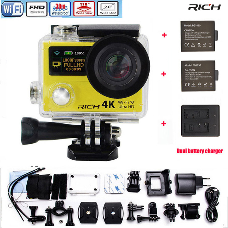Action camera H3R H3 Ultra HD 4K 1080P 170D Wide Angle Dual Screen Sports Camera +2pcs battery+Dual charger action camera h3r h3 ultra hd 4k 170d lens go dual screen camera pro waterproof 30m remote control sport camera