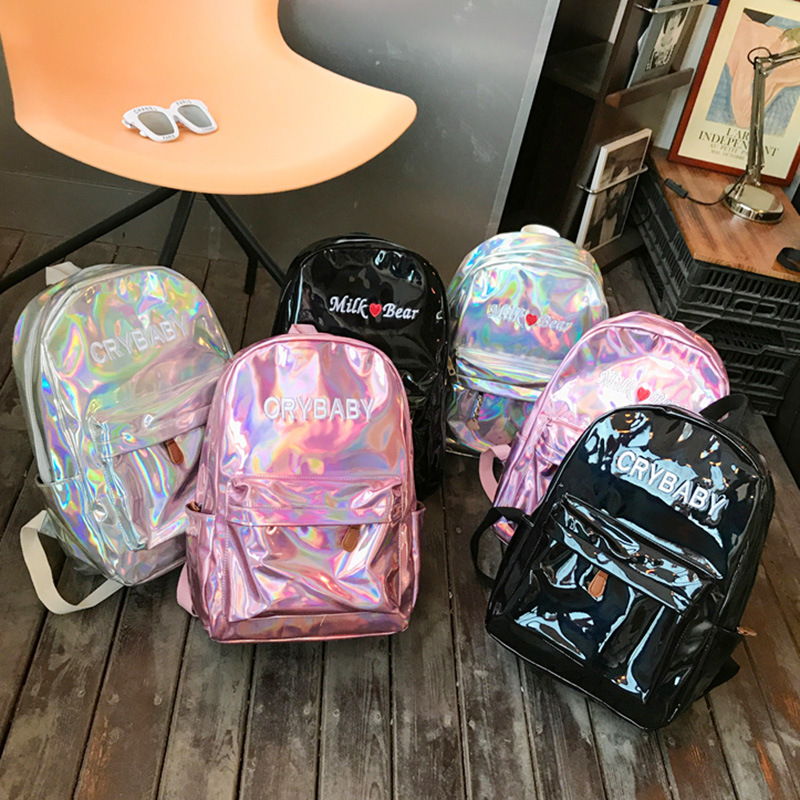 Laser-Backpack Shoulder-Bags Letters Holographic Crybaby Embroidered
