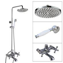 Polished Chrome Wall Mounted Bathroom Rain Shower Faucet Set Dual Cross Handle Tub Tap + Hand-Held Shower Head acy320