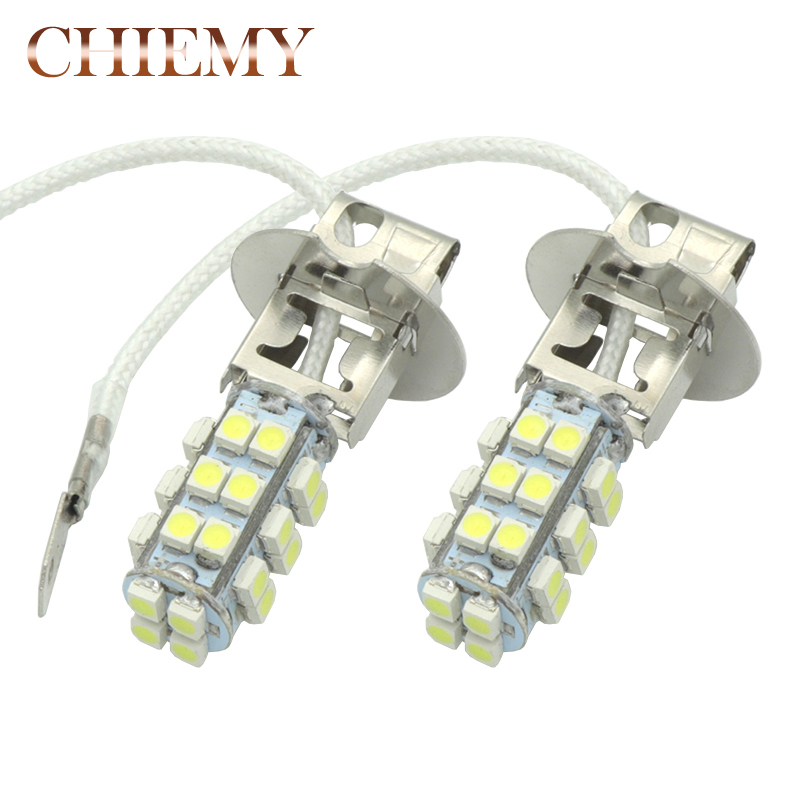 2Pcs H3 LED 28SMD Auto Fog Lamp Daytime Running Light White DC 12V High quality Car Bulb DRL Lamps White 6000K Car Fog Lights high powered 6000k 18lm led vehicle signal lights 2 pack 12v t8 white