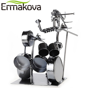 Image 4 - ERMAKOVA Metal Musician Drum Player Statue Drummer&Drum Set Sculpture Figurine Ornament Cafe Counter Office Book Shelf Decor