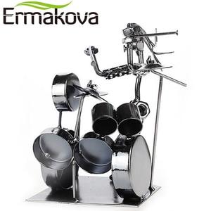 Image 4 - ERMAKOVA métal musicien tambour joueur Statue batteur et batterie ensemble Sculpture Figurine ornement café comptoir bureau livre étagère décor