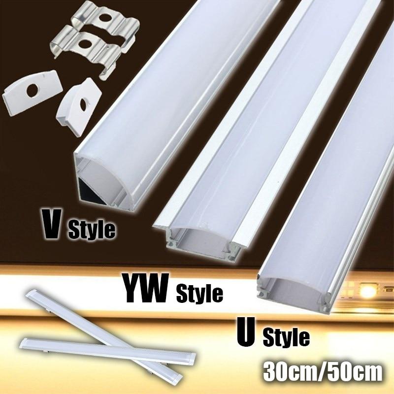 30/50cm U/V/YW Style Shaped LED Bar Lights Aluminum Channel Holder Milk Cover End Up for ...