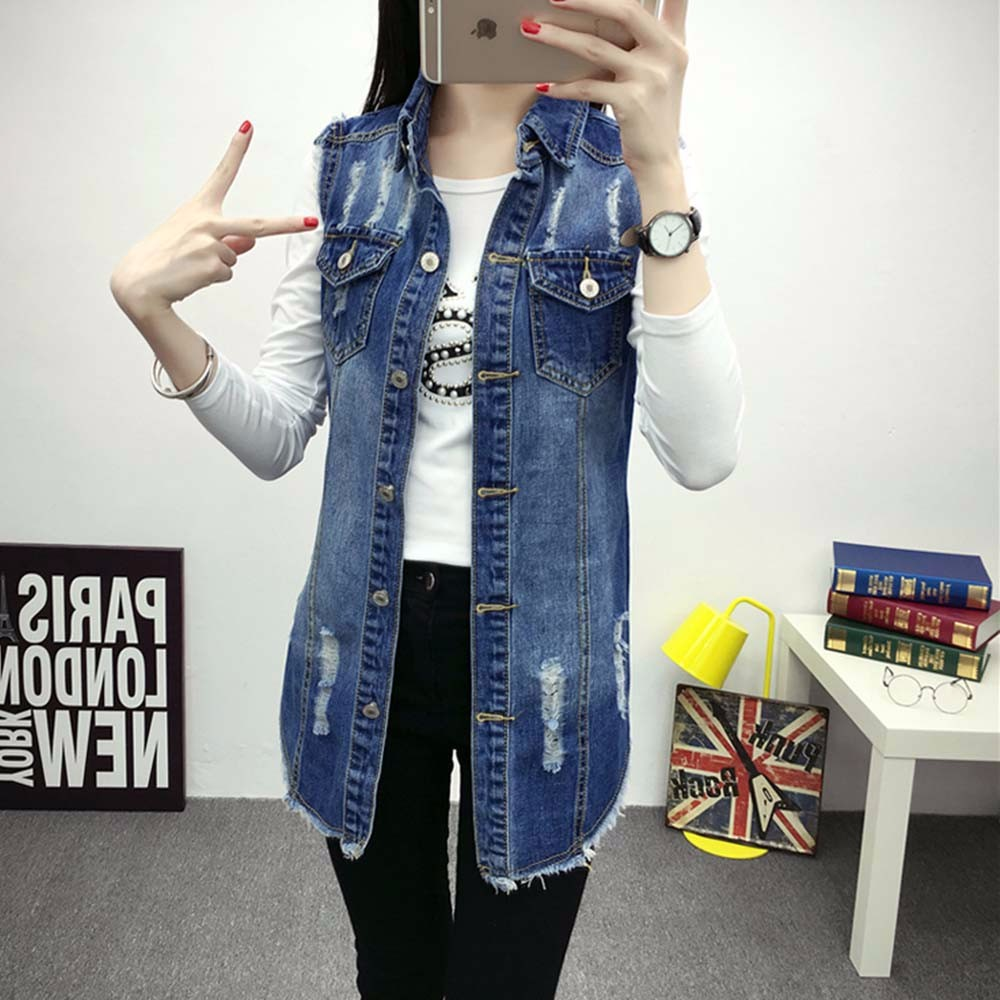 Denim Vest Women Autumn Hole Sleevelesses Coat Frayed Long Waistcoat Jacket Colete Jean Feminino Chalecos Mujer 2016