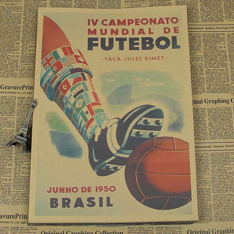 "Vintage ""1950 World Cup in Brazil"" Football Poster Home Decoration Detailed Antique Poster Wall Chart Retro Matte Kraft Paper"