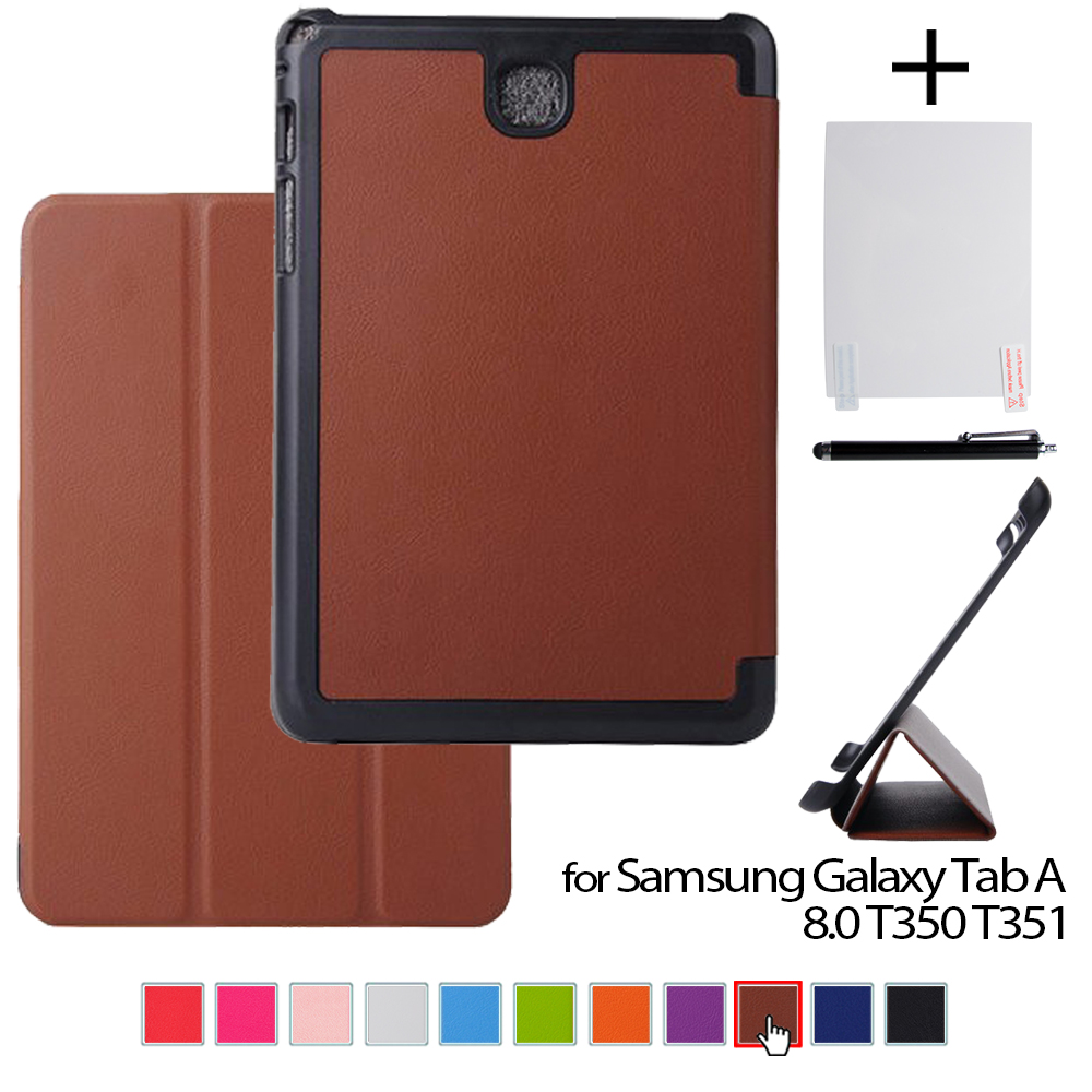 case for samsung Tab AS A8 leather protective cover case funda for samsung GALAXY Tab A 8.0 T350 T351 8 tablet+stylus pen+film чехол клип кейс samsung protective standing cover great для samsung galaxy note 8 темно синий [ef rn950cnegru]