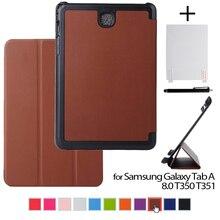 """Caso para samsung tab como a8 de cuero caso de la cubierta protectora funda para el samsung galaxy tab a 8.0 t350 t351 8 """"tablet + stylus pen + film"""