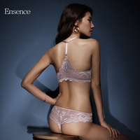 Ensence Beauty Back Sexy Lace Bra Set Front Buckle Thin Type Cup Deep V Breathable Underwear